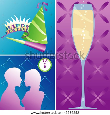 New Year's Eve montage - Party items, Champagne and a couple kissing at midnight - stock photo