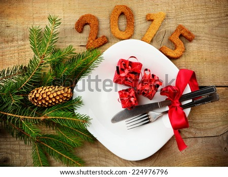 New year's Eve 2015-sylvester 2015 in red colour - stock photo