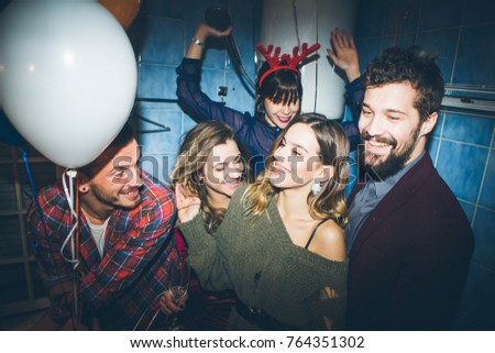 New Years Party Birthday Party Group Stock Photo Royalty Free - Party in the bathroom