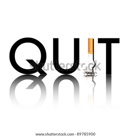 New Year's resolution Quit Smoking concept with the i in quit being replaced by a stubbed out cigarette. Also available in vector format. - stock photo