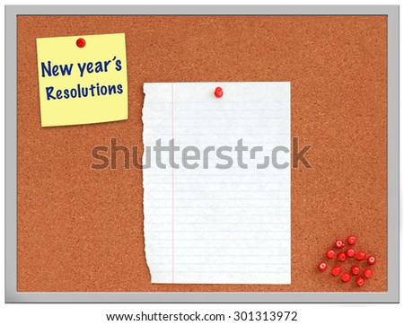 New year's resolutions note on cork board with white paper - stock photo