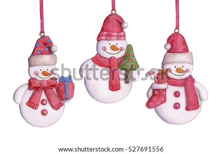 New Year's snowmen. Christmas-tree decorations hanging on white background. Watercolor illustration.