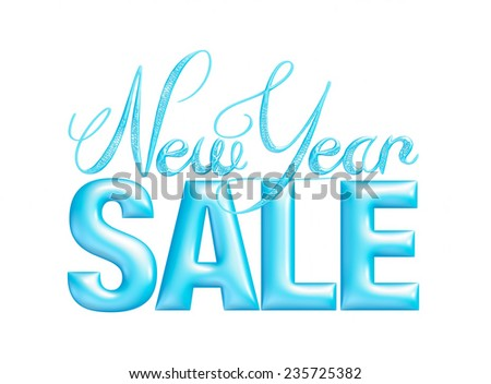 New Year Sale 3d text Design in blue on white background - stock photo