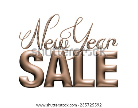 New Year Sale 3d text Design in dark metallic on white background - stock photo
