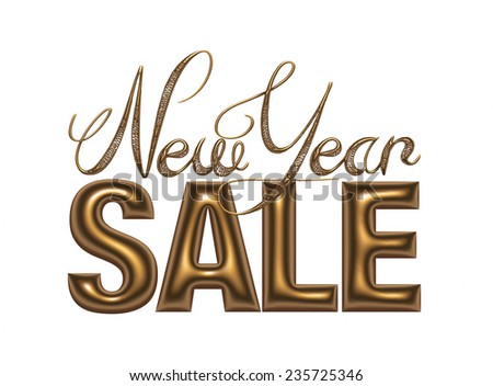 New Year Sale 3d text Design in gold metallic on white background - stock photo
