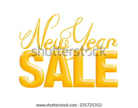 New Year Sale 3d text Design in yellow on white background - stock photo