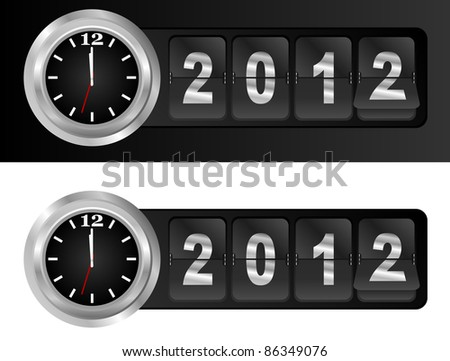 New Year 2012 Sign and Silver Cock in Airport Time Style - stock photo