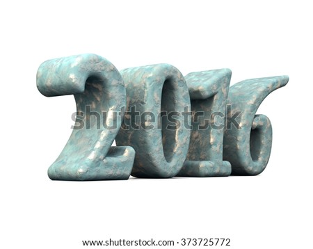 New Year Snow 2016 3d Text Isolated on white - stock photo