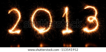 New Year 2013! Sparkling figures. - stock photo