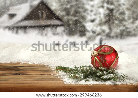 new year time and red ball  - stock photo
