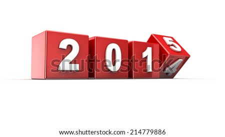 New year 2014 to 2015 concept in 3d