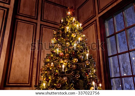 New Year Tree decorated in grunge room interior