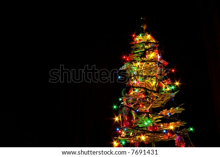 New-year tree on a black background