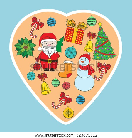 New year vintage card. Marry Christmas  Christmas tree, Santa Claus, snowman, bell, balls, puasentiya. Retro background for your design. - stock photo