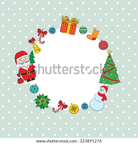 New year vintage invitation. Vector retro background cute Santa Claus, Snowman, Christmas tree for your design. Suitable for various designs, invitation, thank you card and scrapbooking - stock photo