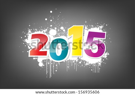 New year 2015 wallpaper, grunge effect. (Raster) - stock photo