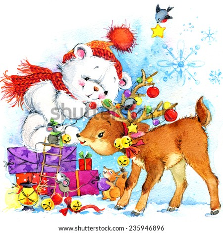 New Year. white teddy bear. background for card with Christmas decoration and forest animals.watercolor drawing - stock photo