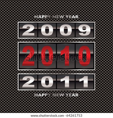 New year 2010 with carbon fiber background and ticker counter - stock photo