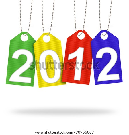 new year 2012 with Corrugated paper craft on white background
