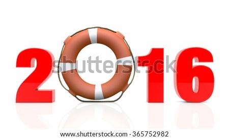 New Year 2016 with Lifebuoy on white background  - stock photo