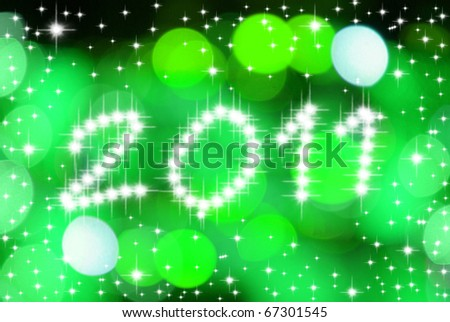 New Year 2010 with lighting background - stock photo