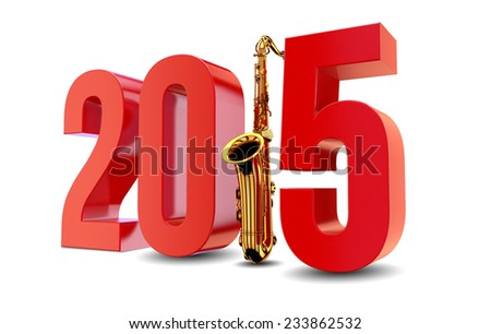 New Year 2015 with Saxophone against Background - stock photo