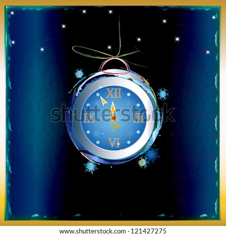 New Years clock on a dark blue abstract background