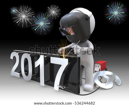 New Years 2017. Dude 3D character the Welder, welding number 7 to 2017 New Years Eve. Fireworks in Background.
