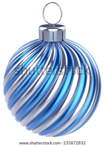 New Years Eve bauble Christmas ball decoration blue silver wintertime ornament icon traditional. Shiny Merry Xmas winter holidays symbol classic. 3d render isolated on white background - stock photo