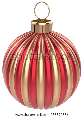 New Years Eve bauble Christmas ball decoration gold red wintertime ornament icon traditional. Shiny Merry Xmas winter holidays symbol classic. 3d render isolated on white background - stock photo