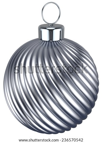 New Years Eve bauble Christmas ball silver chrome decoration wintertime ornament icon traditional. Shiny Merry Xmas winter holidays symbol. 3d render isolated on white background - stock photo
