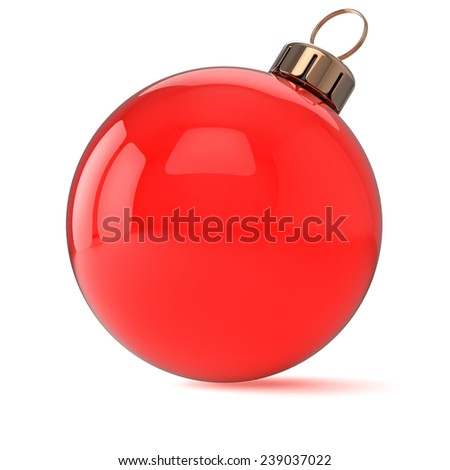 New Years Eve Christmas ball ornament red decoration wintertime bauble icon traditional. Shiny Merry Xmas winter holidays symbol blank. 3d render isolated on white background - stock photo