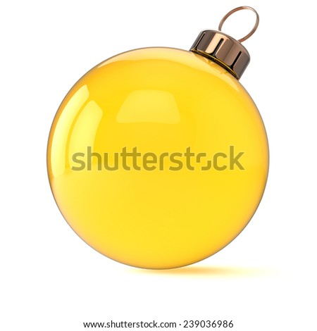 New Years Eve Christmas ball ornament yellow gold decoration wintertime bauble icon traditional. Shiny Merry Xmas winter holidays symbol blank. 3d render isolated on white background - stock photo