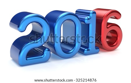 New Years Eve 2016 wintertime banner decoration number text blue red winter celebration adornment design element. Future planning calendar date greeting card advertisement text. 3d render isolated - stock photo
