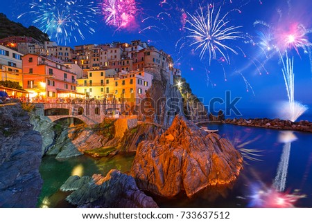New Years firework display in Manarola town, Italy