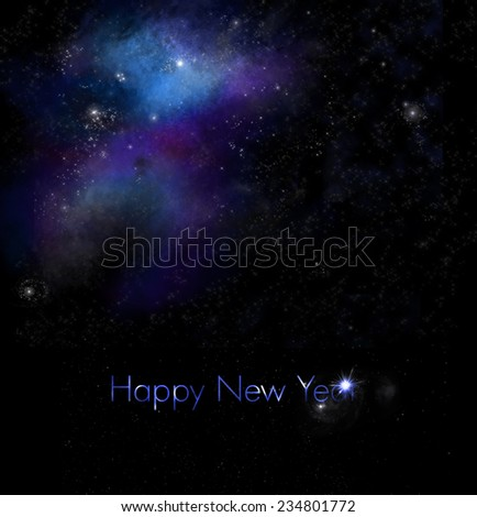 New Years Greeting with Space Background - stock photo