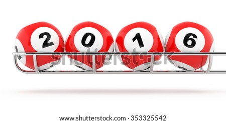 New Years 2016 lottery balls on a white background - stock photo