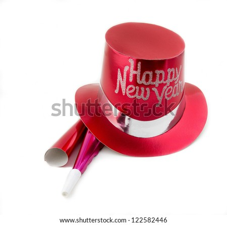 New Years party hat with whistles - stock photo