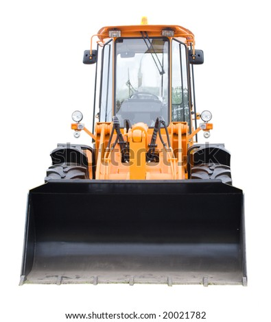 new yellow digger, front view, isolated - stock photo