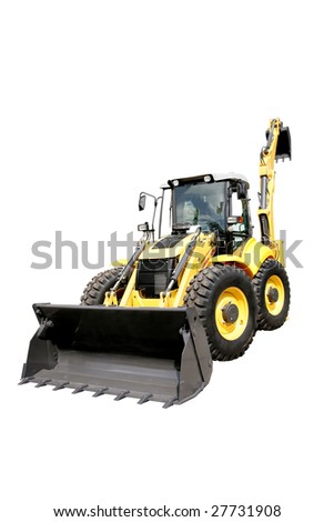 New yellow digger on a white background