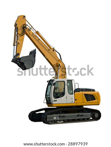 New yellow excavator isolated on pure white - stock photo