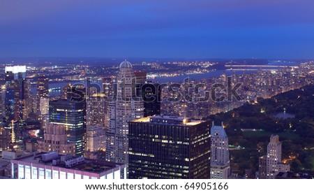 New York aerial view at night - stock photo