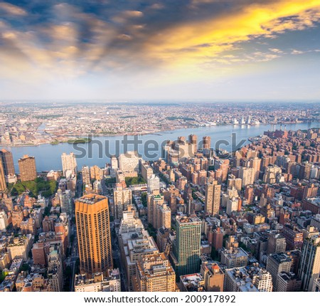 New York aerial view from Empire State Building. - stock photo