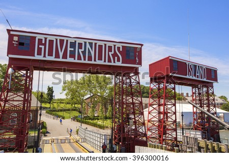 NEW YORK, AMERICA - APRIL 26, 2014: Governors Island in New York. Located in Upper New York Bay, Governors Island is home to historical fortifications Fort Jay and Castle Williams. - stock photo