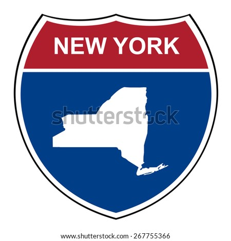 New York American interstate highway road shield isolated on a white background. - stock photo