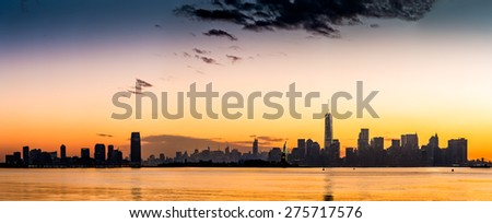 New York and Jersey City panorama at sunrise (high resolution 92Mpix file) - stock photo