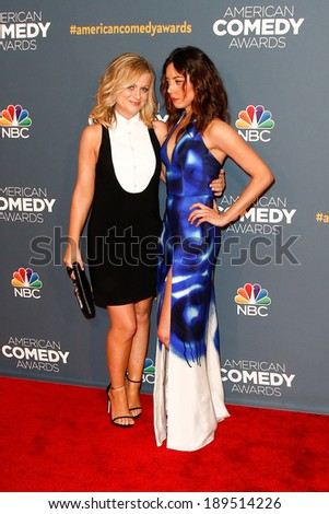 NEW YORK-APR 26: Actors Amy Poehler (L) and Aubrey Plaza attend the American Comedy Awards at the Hammerstein Ballroom on April 26, 2014 in New York City.
