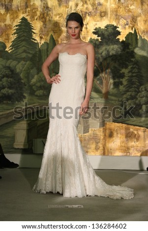 NEW YORK - APRIL 21: A model walks runway for Anne Barge bridal show at The London Hotel during Bridal Fashion Week on April 21, 2013 in New York City - stock photo