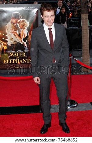 "NEW YORK - APRIL 17:  Actor Robert Pattinson attends the premiere of ""Water for Elephants"" at the Ziegfeld Theatre on April 17, 2011 in New York City."