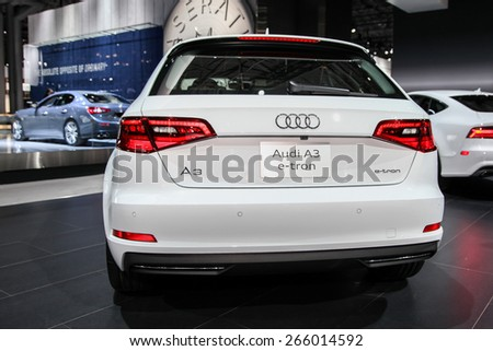 NEW YORK - APRIL 1: Audi exhibit Audi A3 e-tron at the 2015 New York International Auto Show during Press day,  public show is running from April 3-12, 2015 in New York, NY. - stock photo